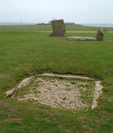 The central hearth at the Stones of Stenness. (Sigurd Towrie)