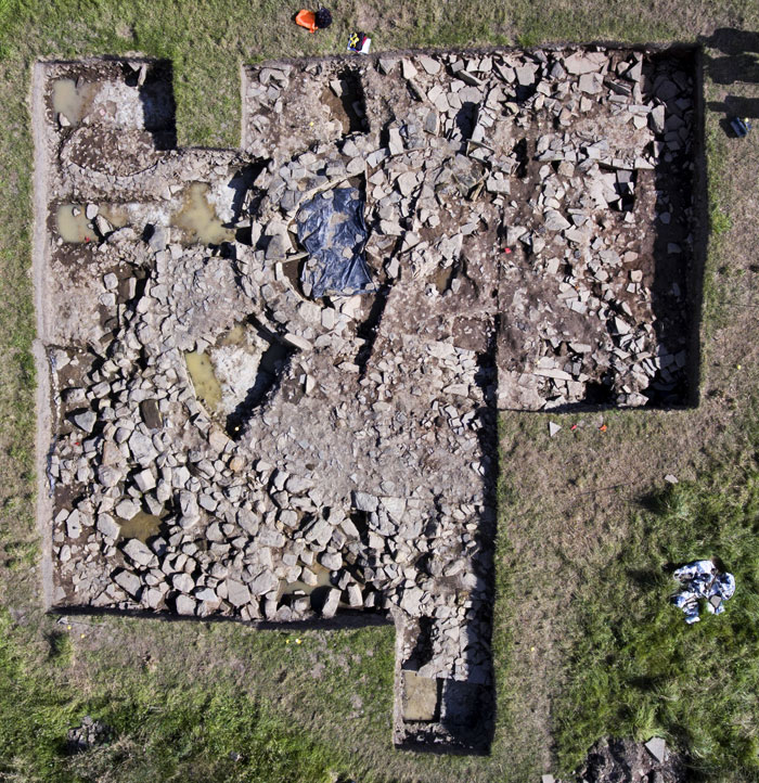 2017: Structure Five and the 'Great Wall' at the end of the excavation season. (Scott Pike)
