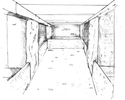 Artist's impression of the interior of the Bookan chambered cairn, showing the central chamber and entrances to the five side chambers.