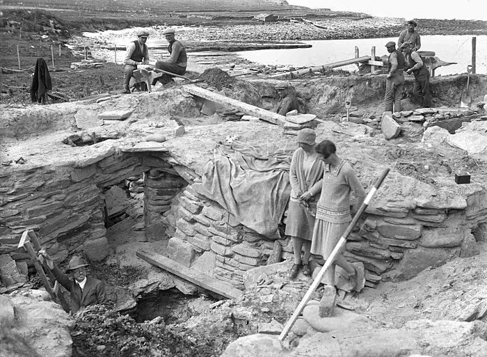 Vere Gordon Childe (bottom left) pictured during his excavations at Skara Brae. (Picture courtesy of Orkney Library Photographic Archive)