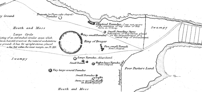A section of Lieut. Thomas' 1849 map, showing the tumuli around the Ring of Brodgar.