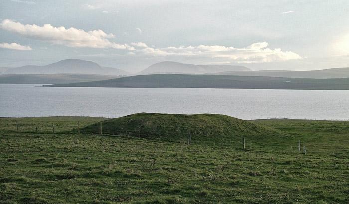 Skaefrue, Sandwick. Looking across the Stenness loch towards Hoy. (Sigurd Towrie)