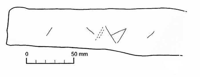 "Cuween incised markings - note the triangle pair and the similarity to the ""Brodgar Butterfly"" markings recorded at the Ness of Brodgar."