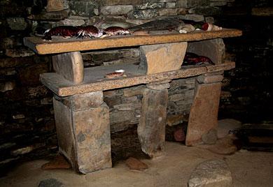 The 'dresser' inside the replica house at the Skara Brae visitor centre. (Sigurd Towrie)