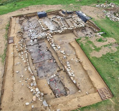 Norse longhouse excavated to the east of the Castle of Snusgar, Sandwick. (Sigurd Towrie)