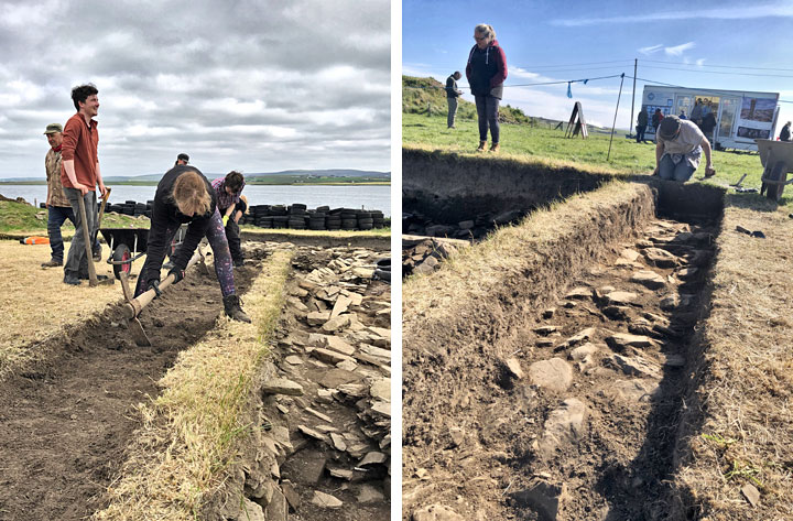 Left: Work on the Trench J extension getting under way this morning. Right: The rubble layer in the extension at the end of today's excavation. (Sigurd Towrie)