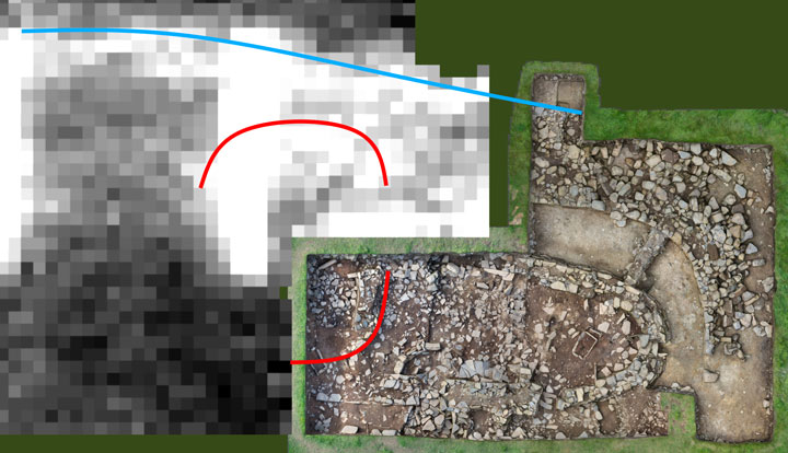 Resistivity scan results around the north-west and south of Trench J, with the path of Structure Thirty-Two wall line highlighted in red. The blue line represents the outer wall of the 'Great Wall of Brodgar'