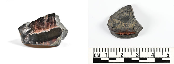 The polished haematite fragment from Trench J. (Ole Thoenies)