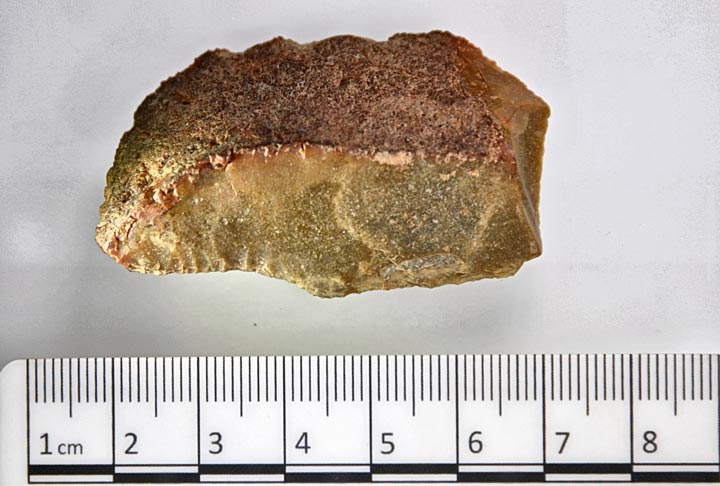 Piece of worked flint from Structure Twelve today. (Ole Thoenies)