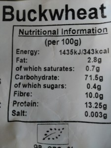 Buckwheat nutritional information