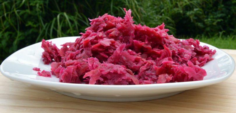 unpasteurized sauerkraut on a plate