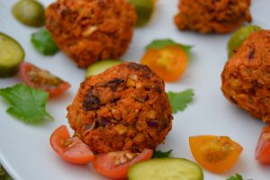 Sweet Potato Falafel on a plate before dressing
