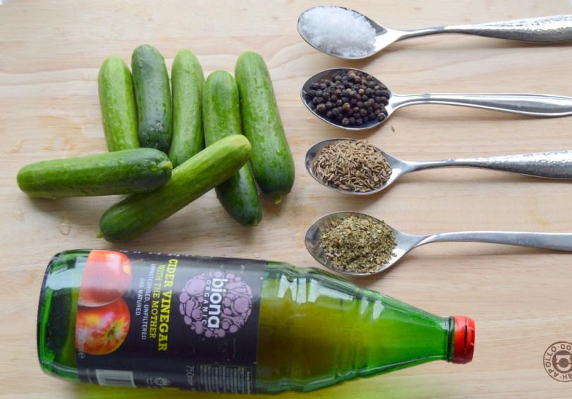 ingredients for 24 Hour Pickled Gherkins