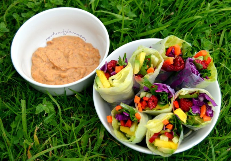 Rainbow summer rolls with a spicy lemon dip