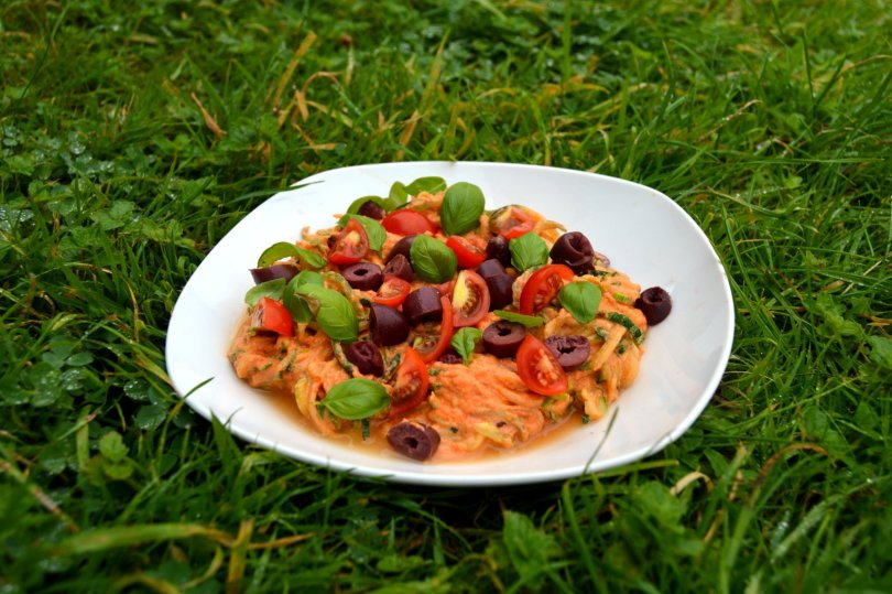 Creamy tomato Courgette Spaghetti on grass