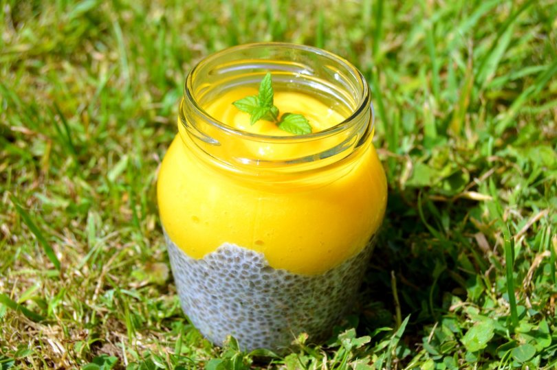 Mango Lime Chia Pudding with mint