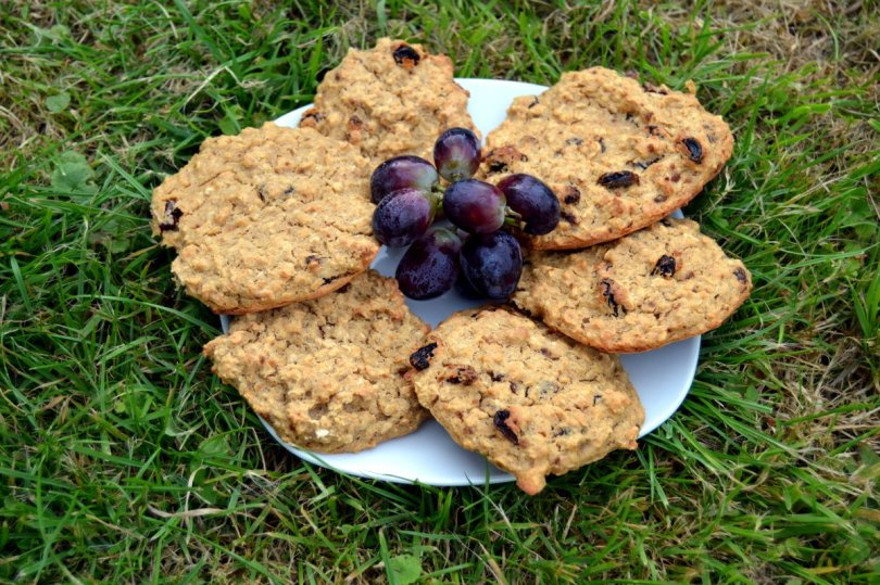 raisin banana oat biscuits wit red grapes