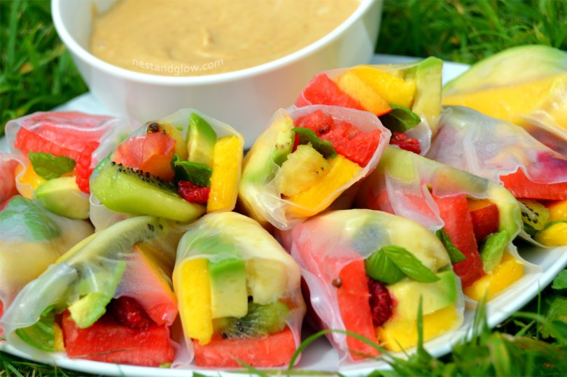 Fruity Summer Rolls with Salted Caramel Dip Ready to eat