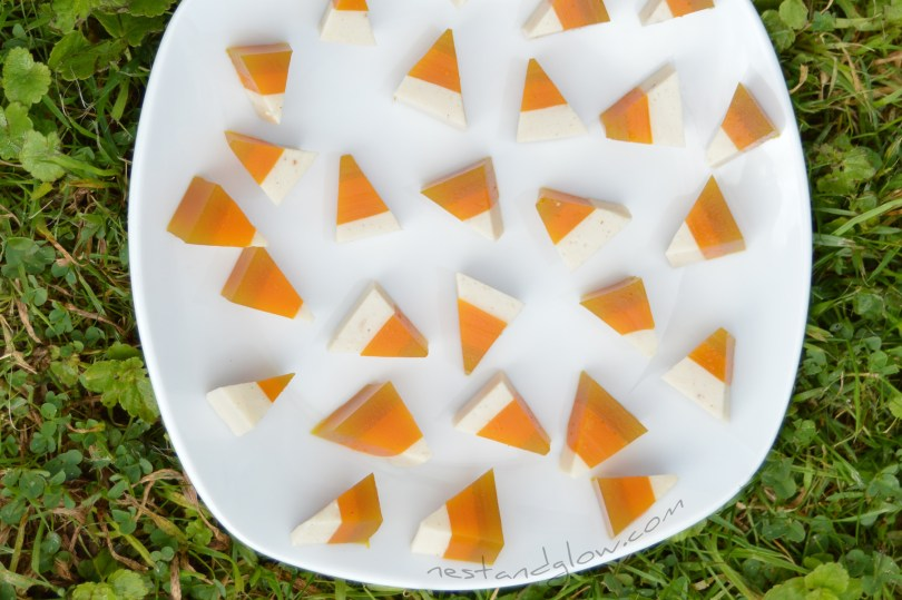 Healthy Candy Corn with fruit juice