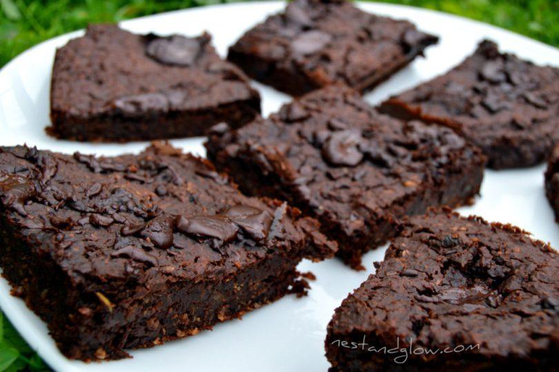 Healthy Chocolate Fudge Mung Bean Brownies Close Up