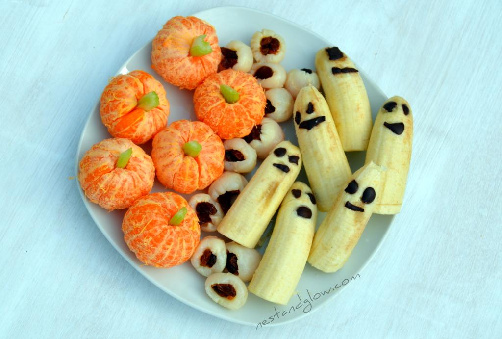 Lychee Eyeballs, Banana Ghosts & Clementine Pumpkins Recipe