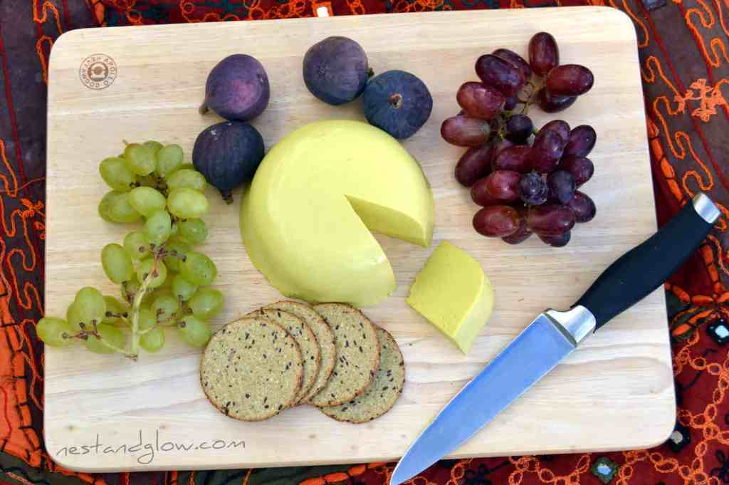 Vegan sunflower cheddar on a cheese board - nut free seed cheese recipe