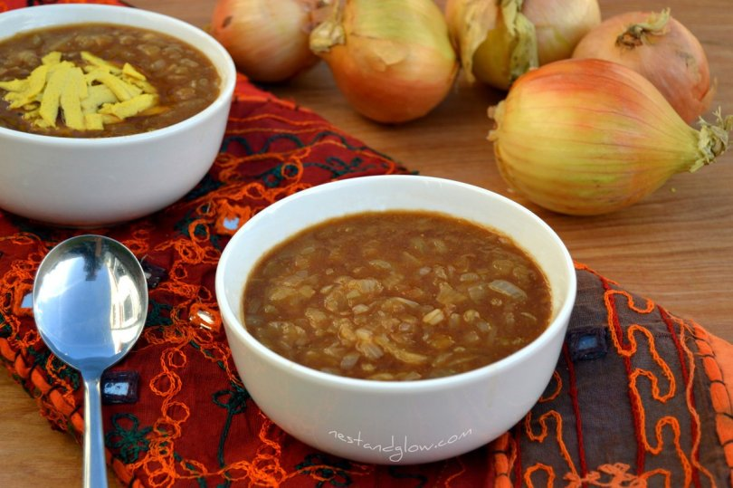 vegan french onion soup in a bowl