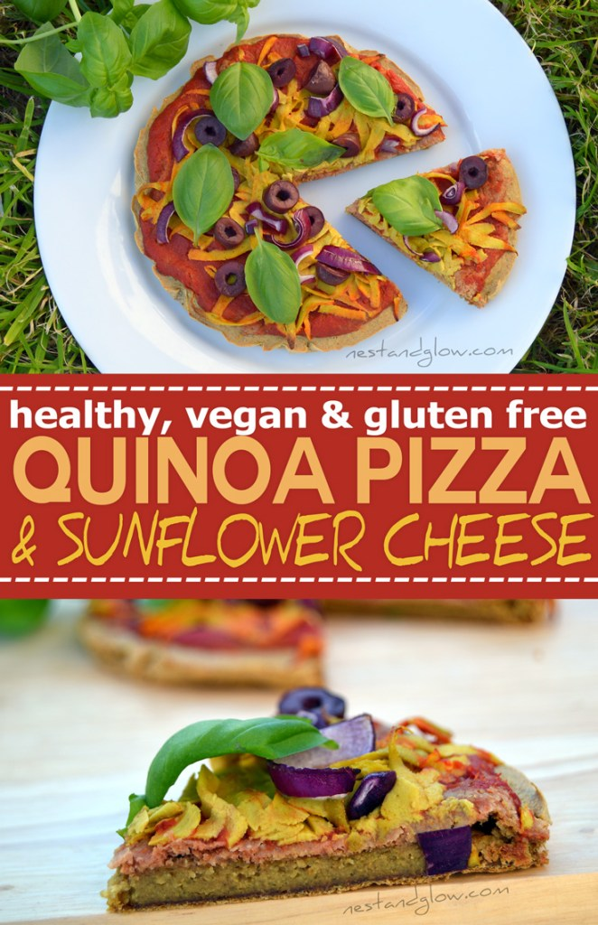 Gluten free easy quinoa crust pizza recipe