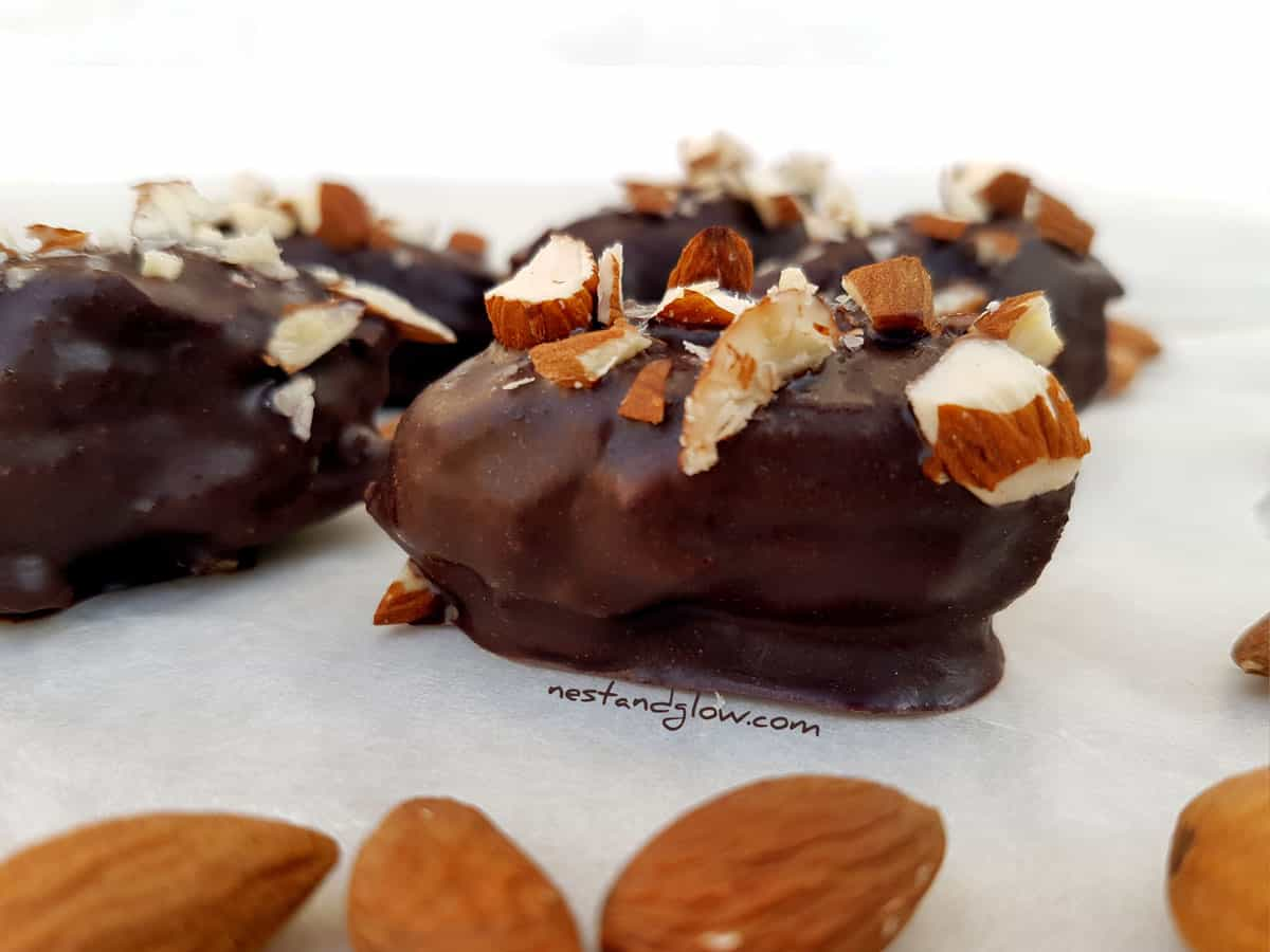 Almond Stuffed Medjool Dates Dipped in Raw Chocolate