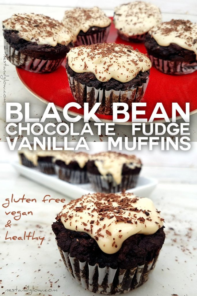 Easy Recipe for Black Bean Chocolate Fudge Muffins with Vanilla Frosting