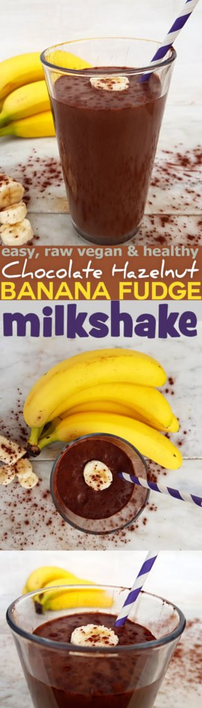 easy, raw vegan and healthy Chocolate Hazelnut Banana Fudge Milkshake Recipe