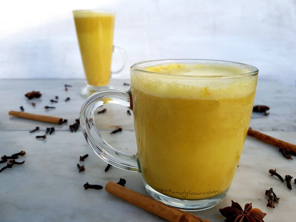 Golden cashew turmeric milk with ginger and cinnamon