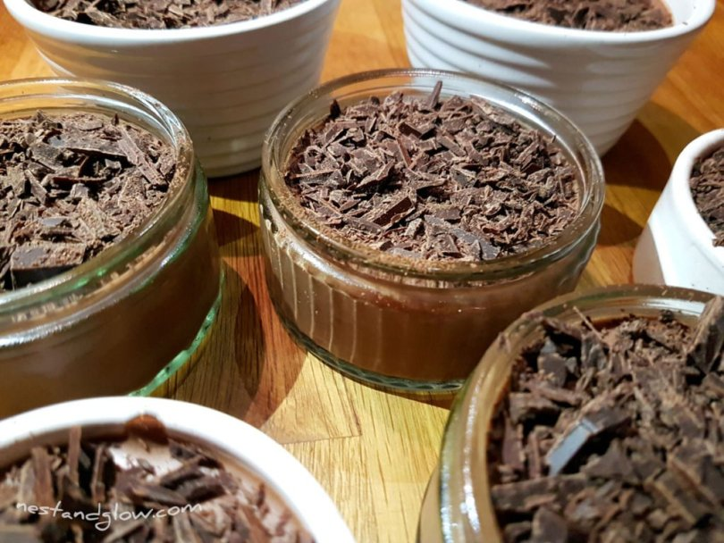 A selection of dairy free chocolate mousse