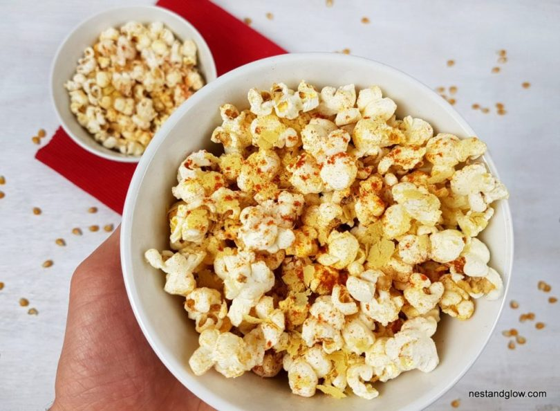 Healthy cheesy  bbq popcorn suitable for vegans