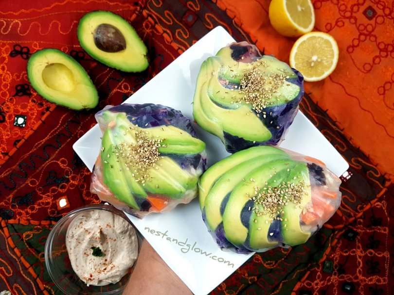 A side dish of sushi spring avocado buns with nut dip