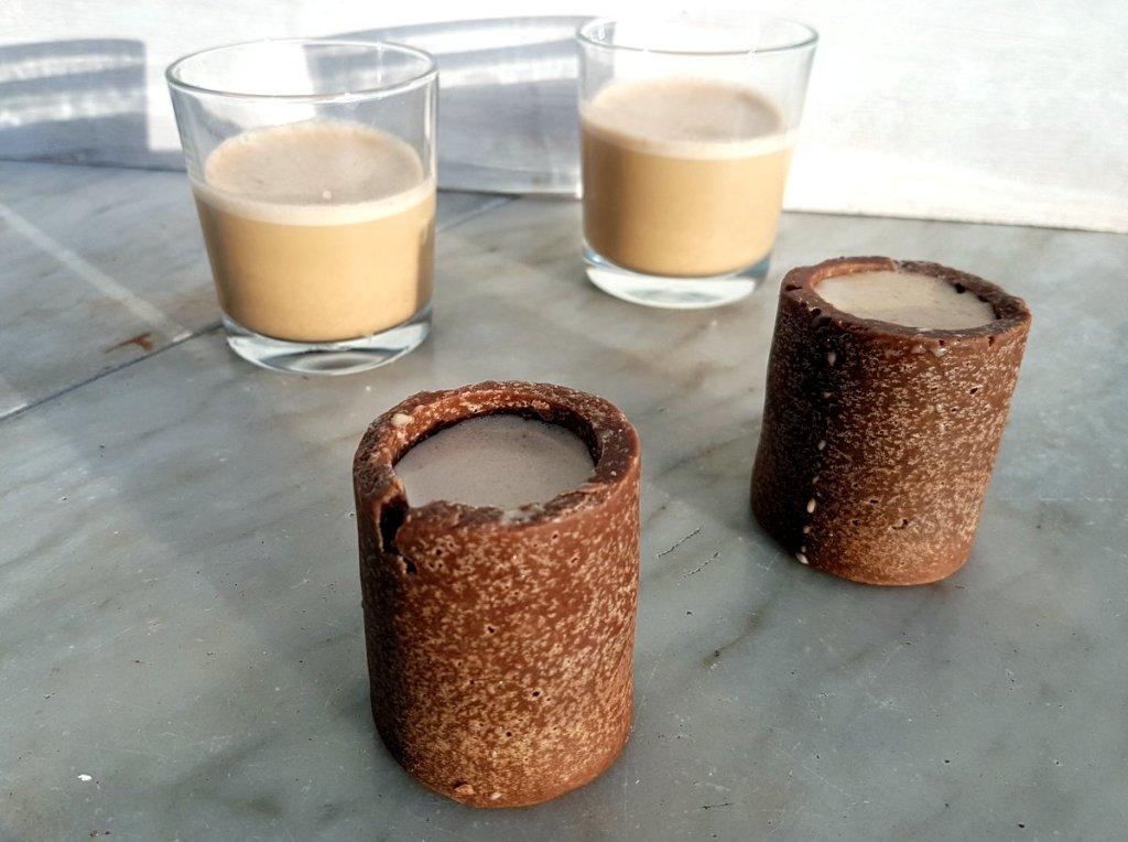 Coconut milk baileys with coconut chocolate shot glasses Recipe