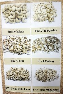 Different grades of cashews