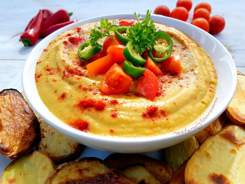 Light Queso Cheese Dip with baked chip slices