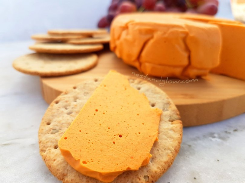 A slice of Smoked Cashew vegan Cheese
