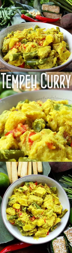 Golden Tempeh Curry with Coconut & Sweet Potato - Easy Vegan Healthy Recipe