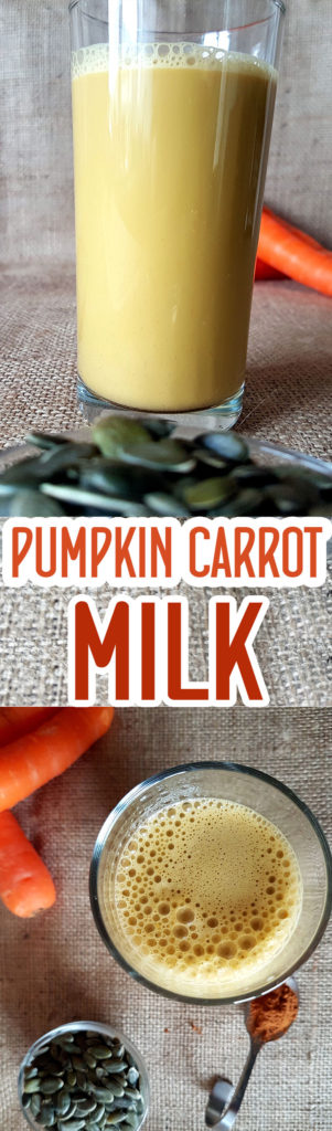 Pumpkin carrot seed milk with cinnamon