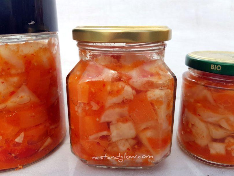Jars of raw vegan kimchi