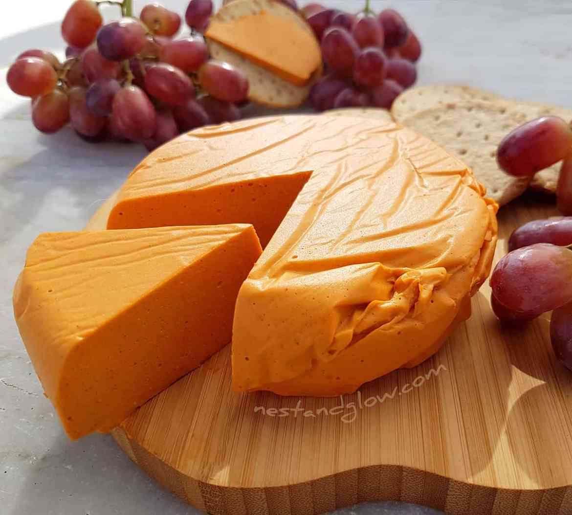 smoked cashew vegan cheese recipe for firm sliceable dairy free cheese