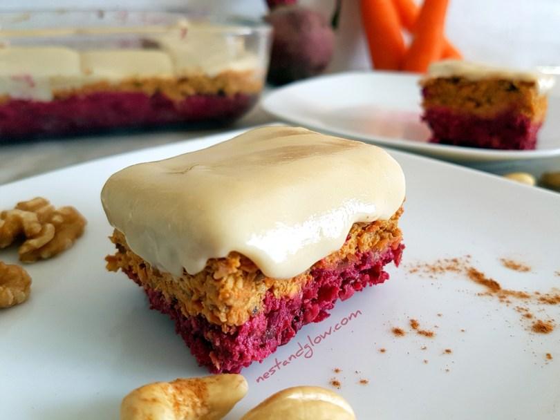 Raw Carrot Beetroot Healhty Cake Recipe