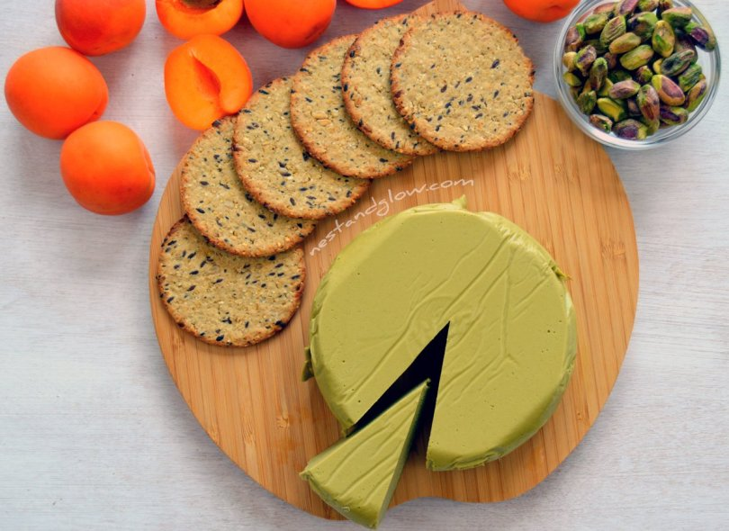 Vegan cheese board with Pistachio Nut Cheese