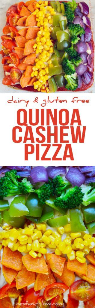Rainbow Cashew Cheese Quinoa Crust Pizza - Dairy & Gluten Free