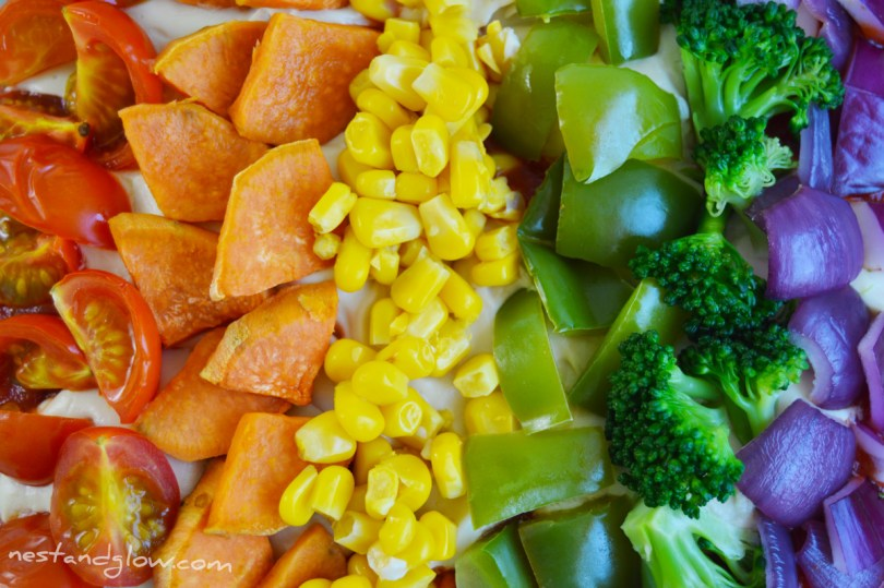 Healthy Rainbow Pizza vegan gluten free