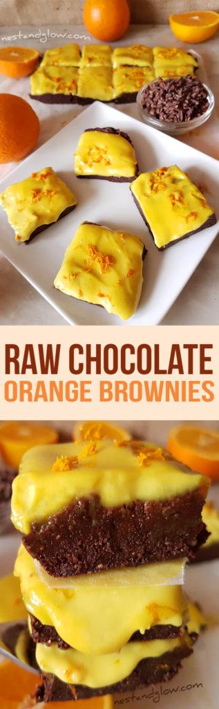 Raw Chocolate Orange Brownies with Cashew Orange Frosting Recipe - Vegan, Gluten-free and Paleo
