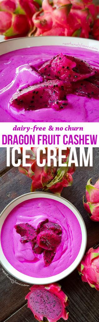 Dragon Fruit Cashew Ice Cream - Dairy-free and no-churn