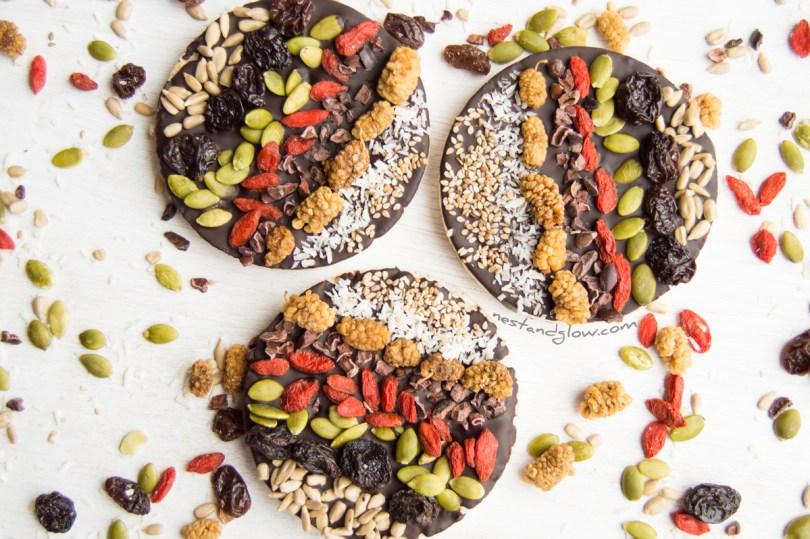 Goji Berry and pumpkin seed Chocolate Rice Cakes